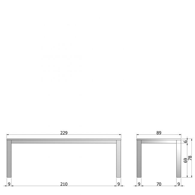 Table à manger en chêne noire 230x90 Tygo