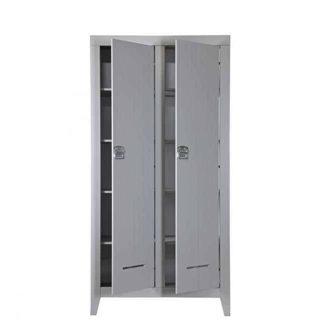 Armoire industrielle 2 portes en pin Til gris béton