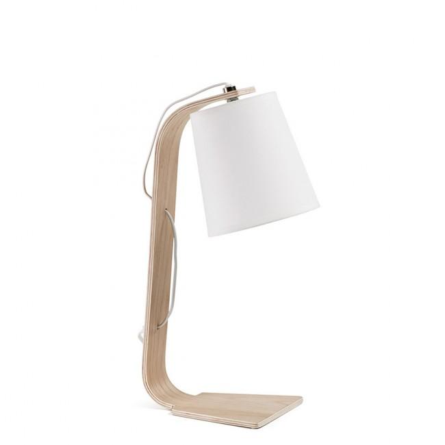 Lampe à poser bois et coton blanc Repcy