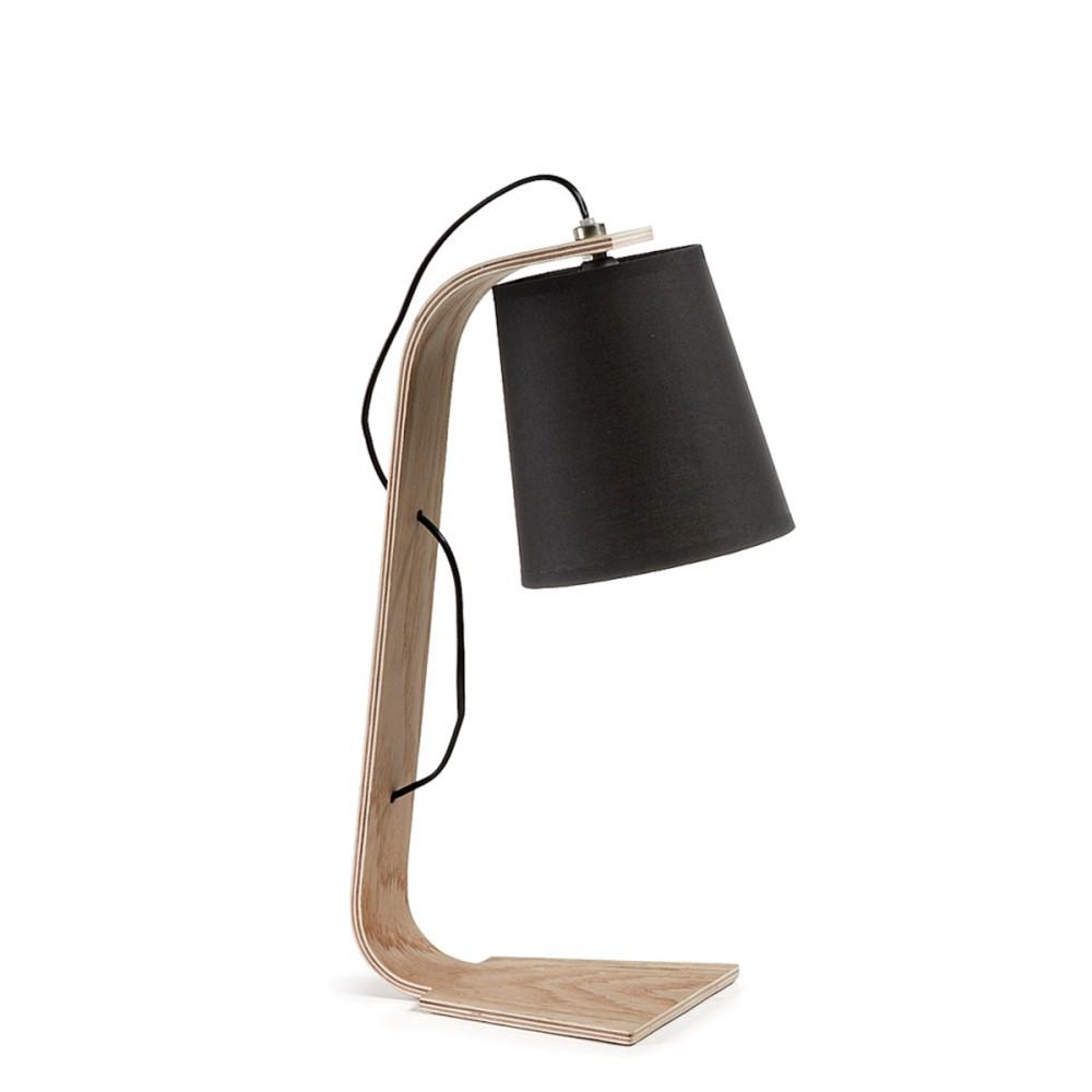 Lampe poser bois et textile repcy par for Lampe a poser bois