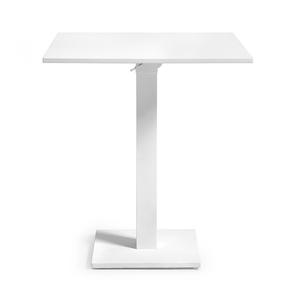 Table de bistro pliante en aluminium laqu blanc ou gris for Table de bistrot pliante