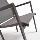 Lot de 2 fauteuils de jardin aluminium et corde grise Malta
