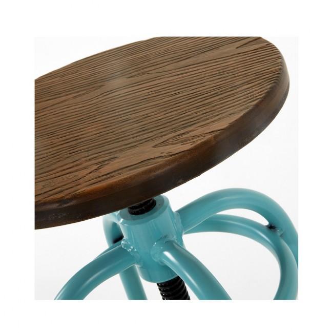 Lot de 2 tabourets de bar métal et bois réglable bleu Malira