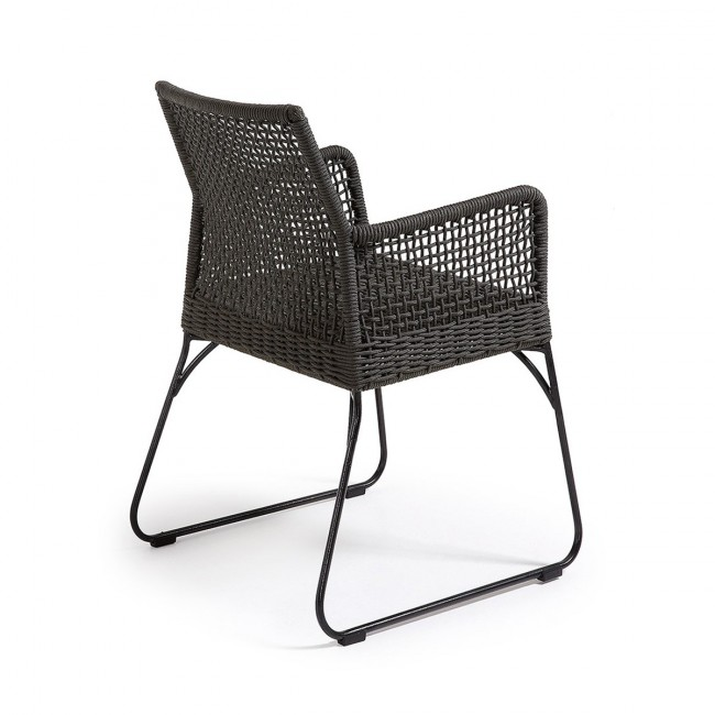 Lot de 2 fauteuils de jardin vintage métal et corde gris Kavon