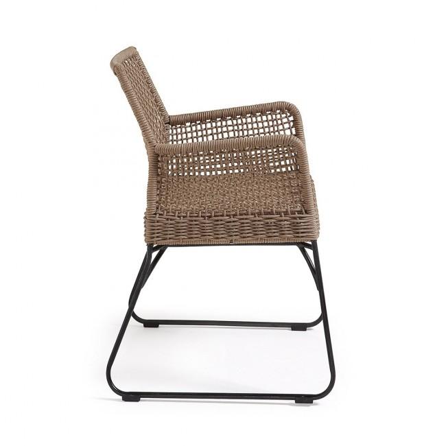 Lot de 2 fauteuils de jardin vintage métal et corde beige Kavon
