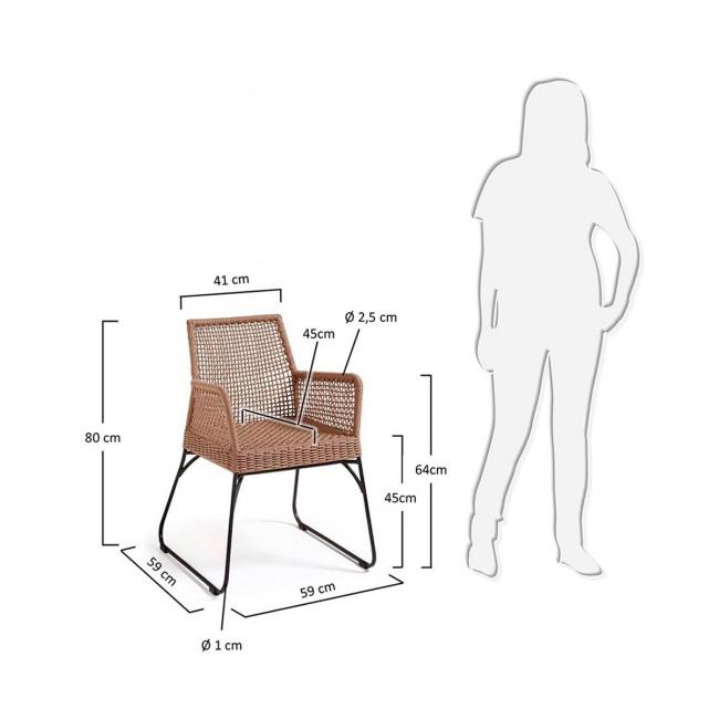 Lot de 2 fauteuils de jardin vintage métal et corde Kavon