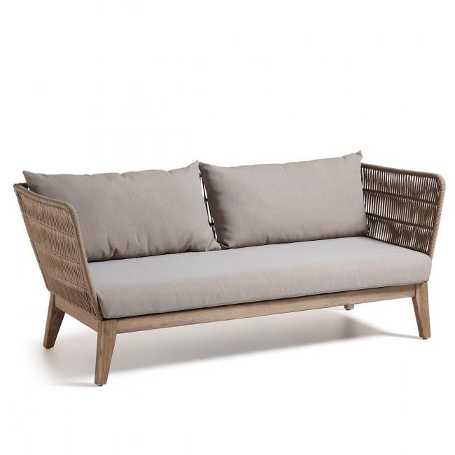 Canapé de jardin vintage bois et corde Belleny