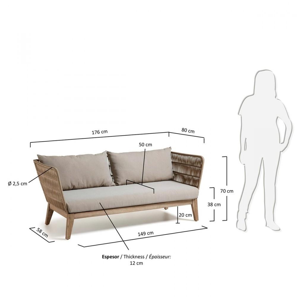 canap de jardin 3 places en bois et corde belleny by. Black Bedroom Furniture Sets. Home Design Ideas