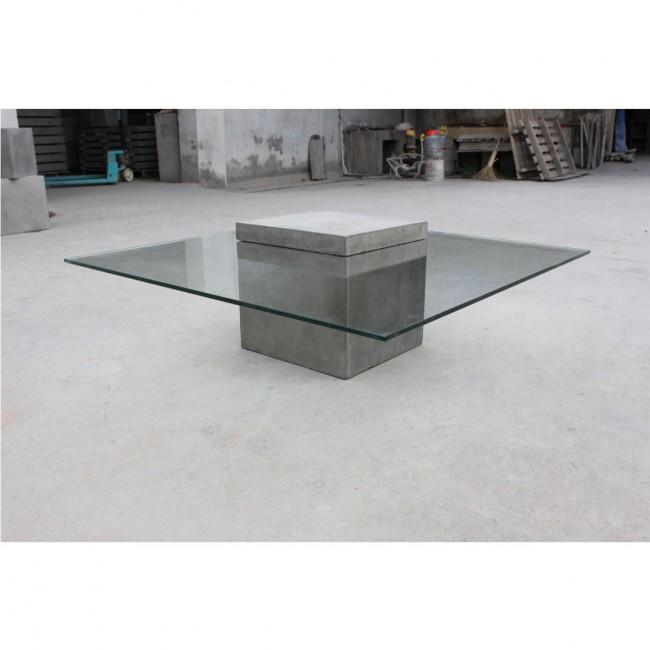 Table basse carré béton et verre Verveine