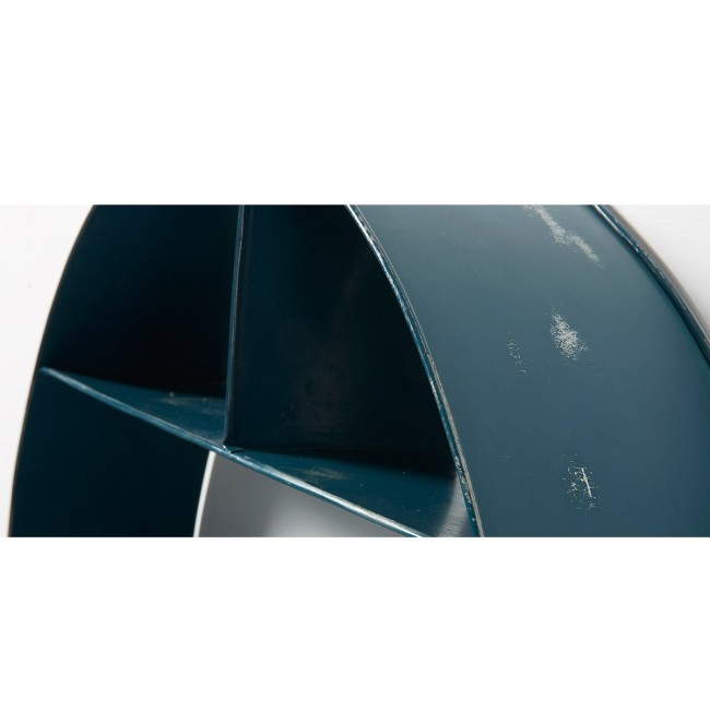 Etagère ronde murale métal bleu Earth