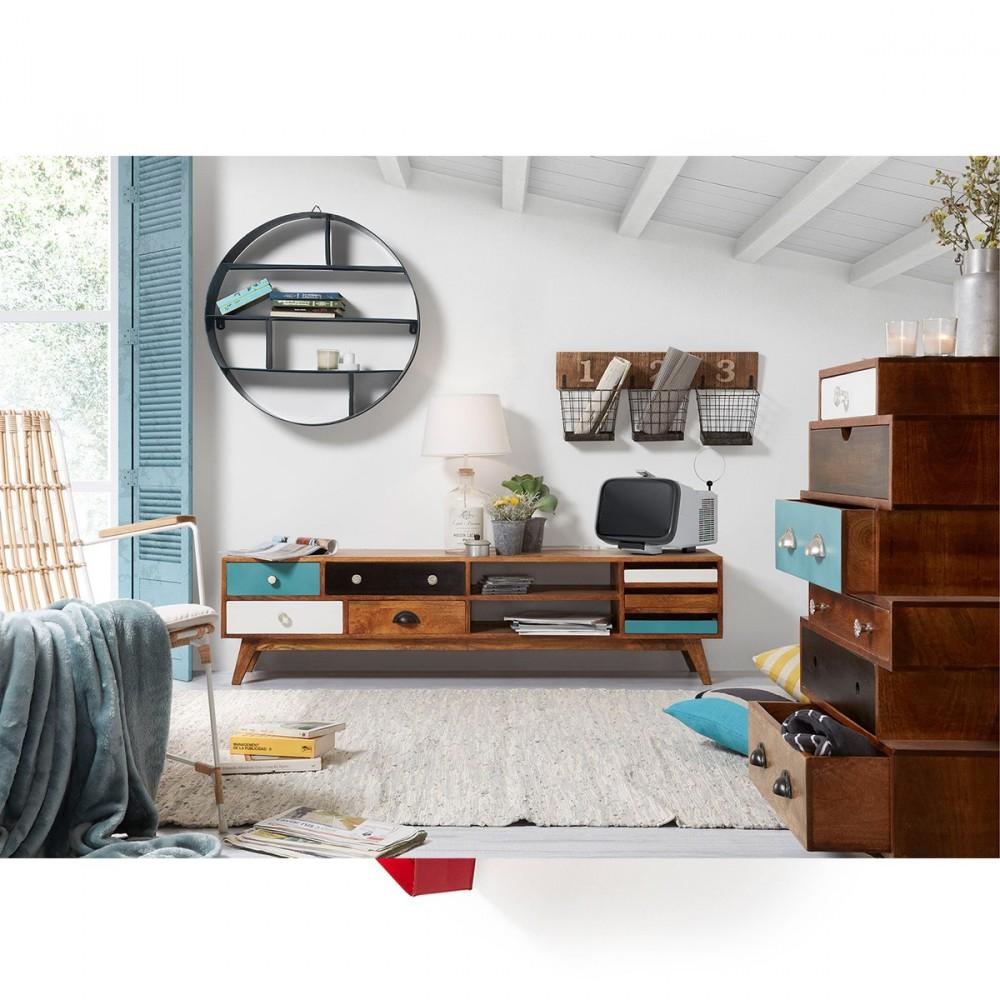 tag re ronde et murale en m tal bleu earth par. Black Bedroom Furniture Sets. Home Design Ideas