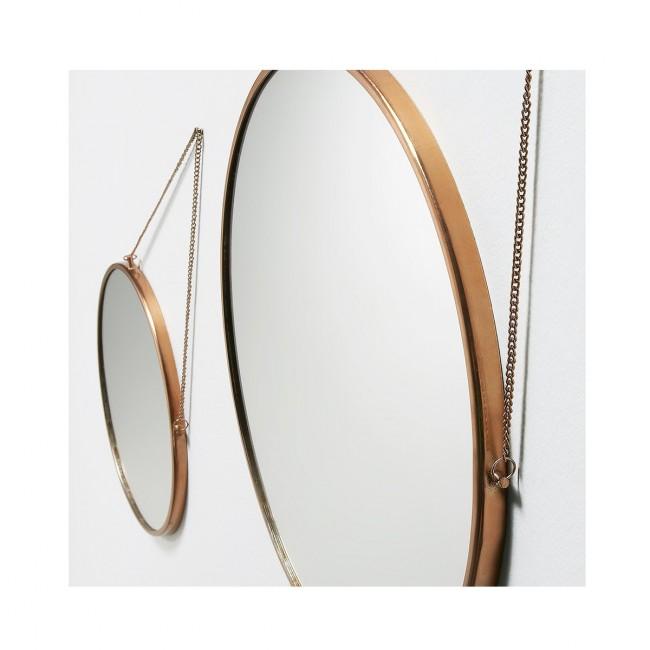 Lot de 2 miroirs ronds métal et cuivre Icon
