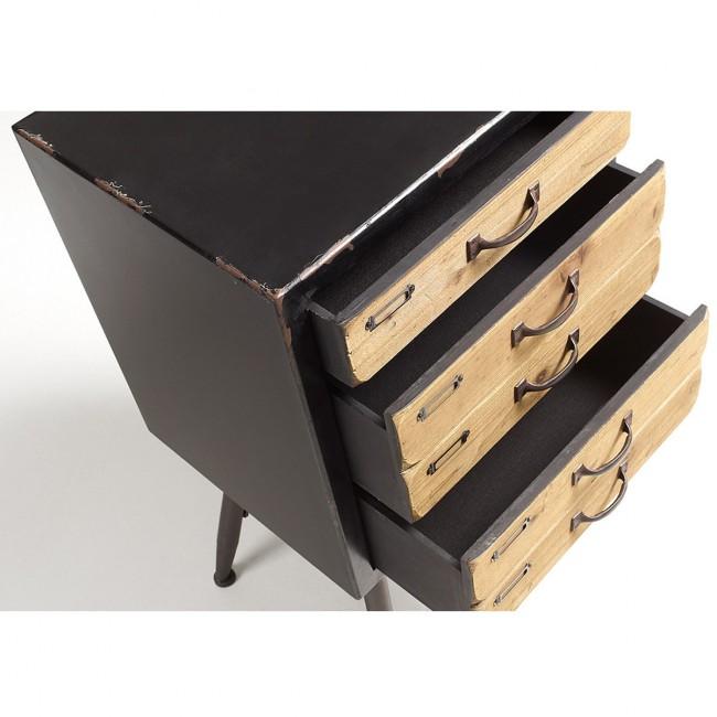 Commode vintage bois et métal 5 tiroirs Refe