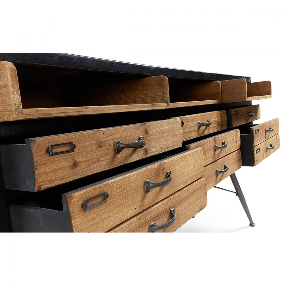 buffet industriel en bois et en métal refe par drawer.fr