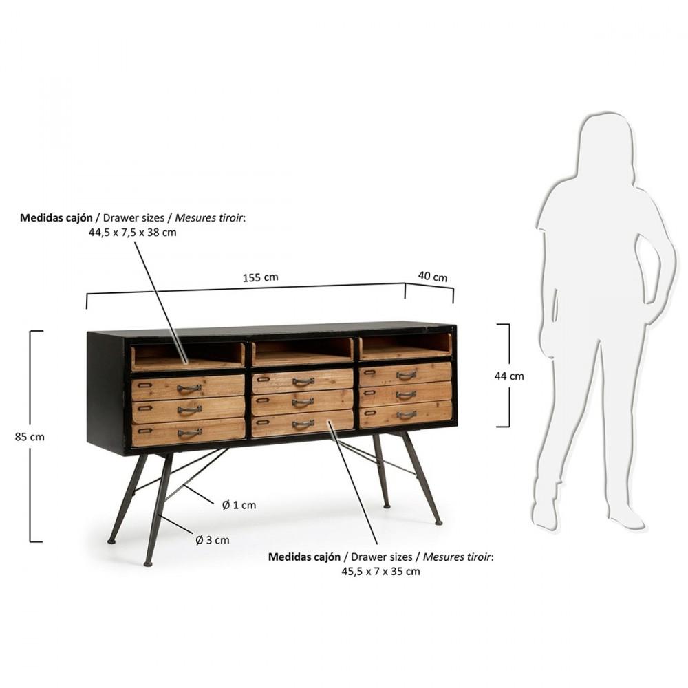 buffet industriel en bois et en m tal refe par. Black Bedroom Furniture Sets. Home Design Ideas