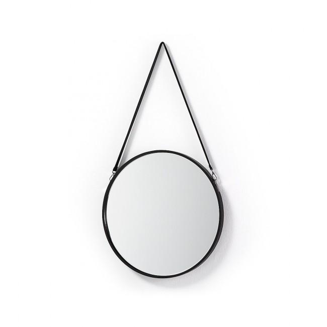 Miroir rond métal anse cuir Raintree