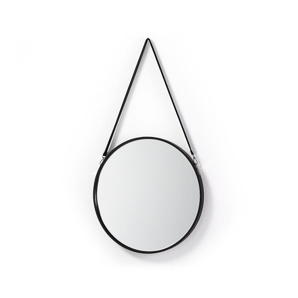 Miroir rond en m tal et anse en cuir raintree par for Miroir rond metal noir