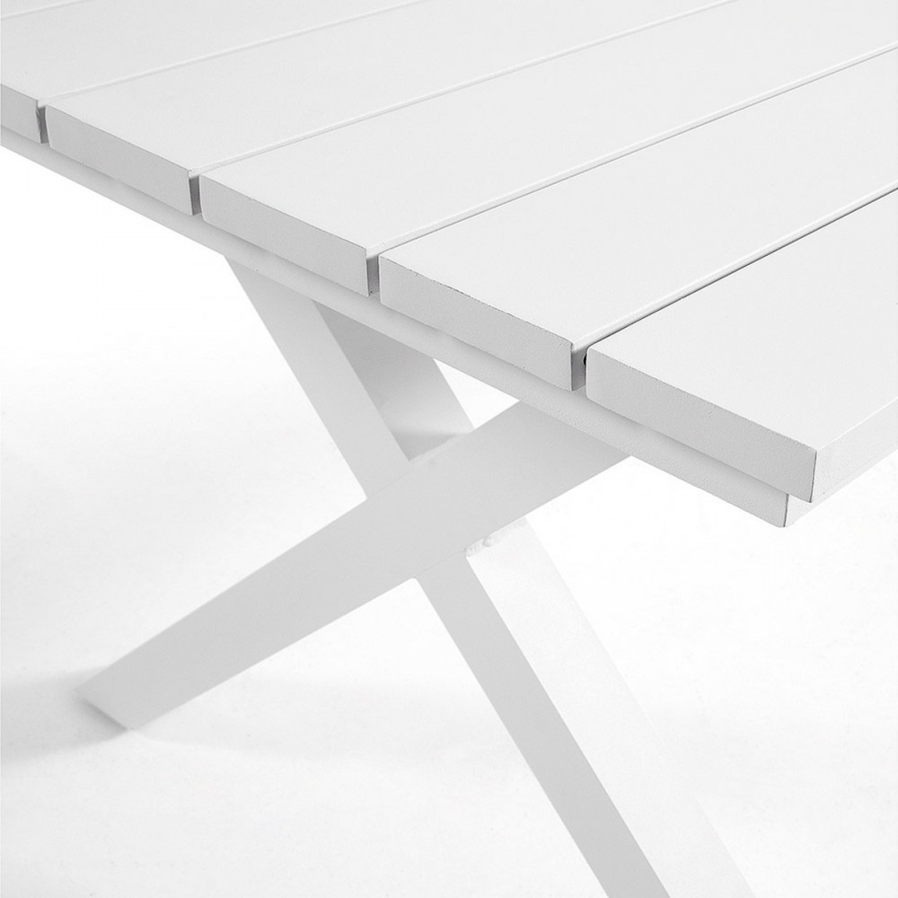 table manger de jardin blanche en aluminium shellyn by drawer. Black Bedroom Furniture Sets. Home Design Ideas