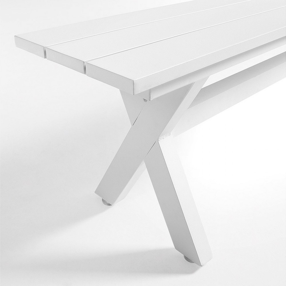 banc design en aluminium blanc shellyn par. Black Bedroom Furniture Sets. Home Design Ideas