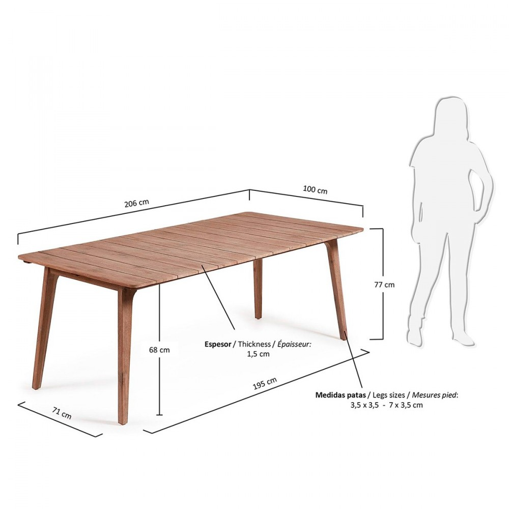 Table manger en bois massif kenart by drawer for Table exterieur bois massif