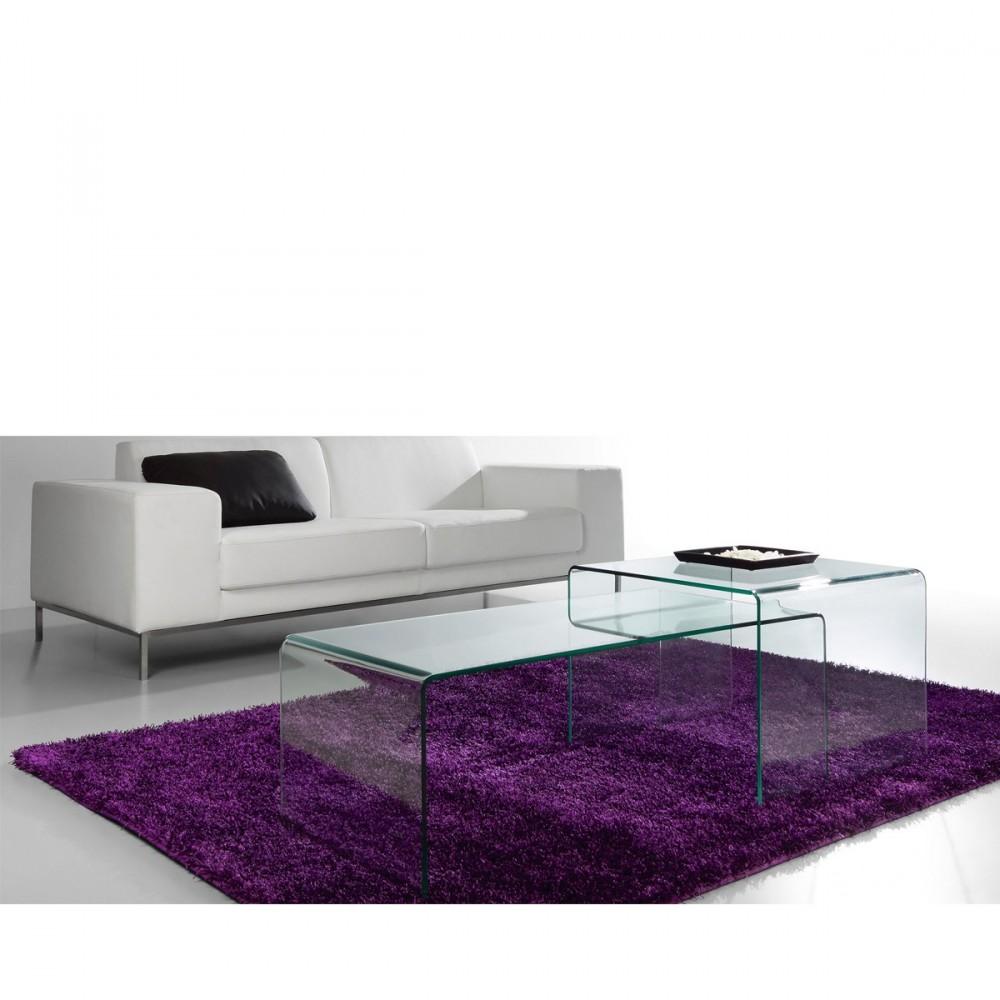 Table basse en verre tremp transparent burano par - Table basse design verre trempe ...