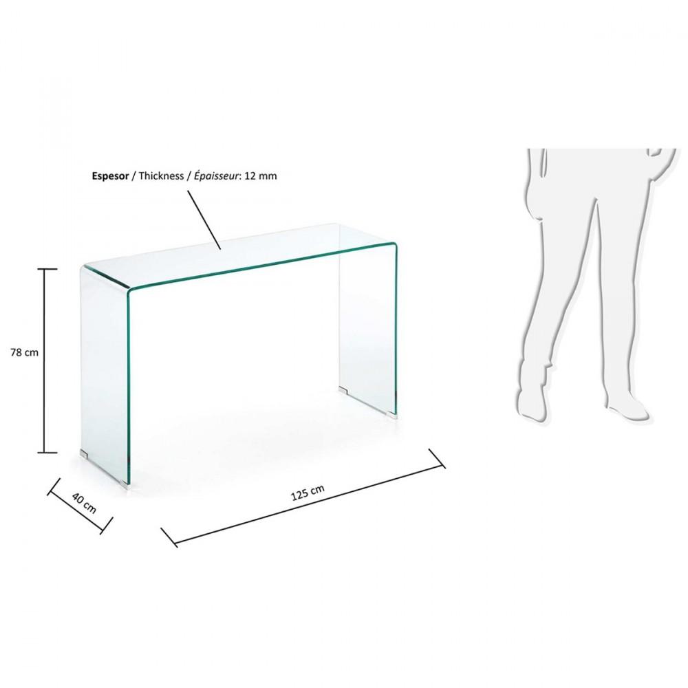 Table console en verre transparent burano par for Console informatique en verre