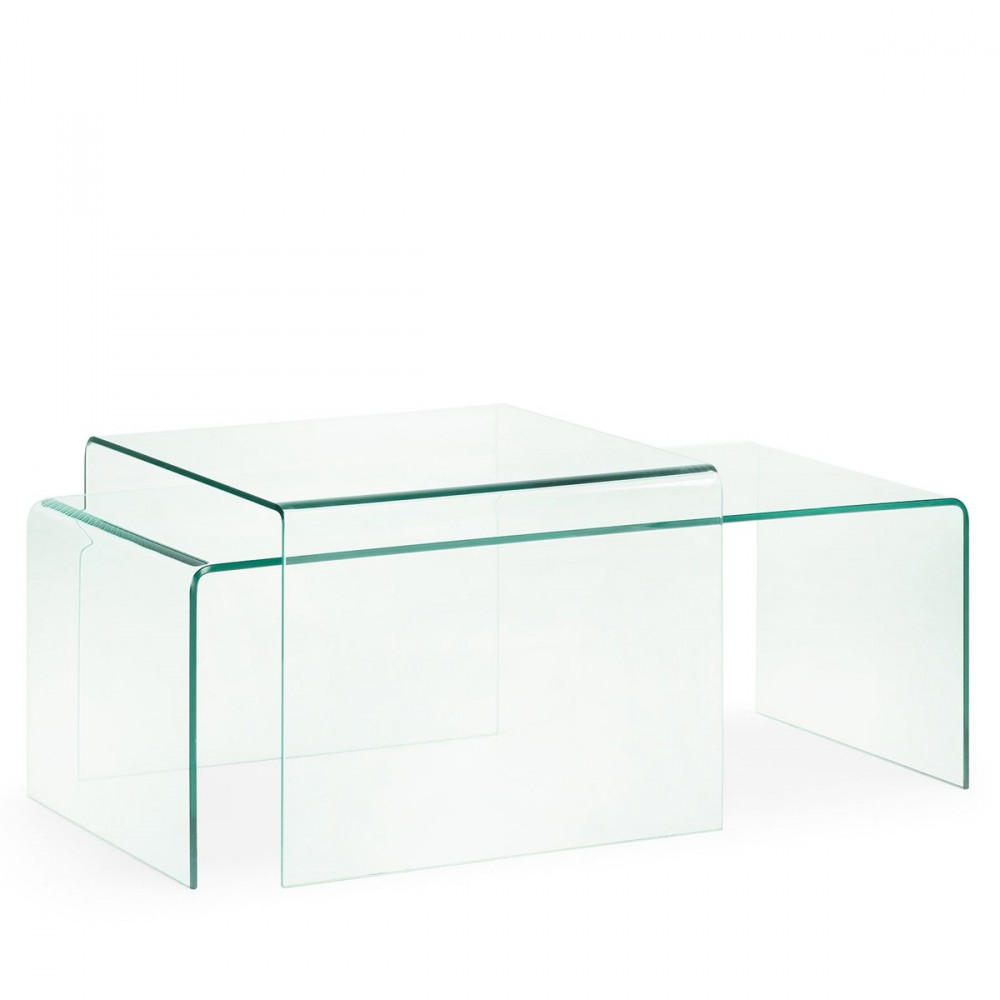 Table d 39 appoint en verre transparent burano par for Table d appoint transparente