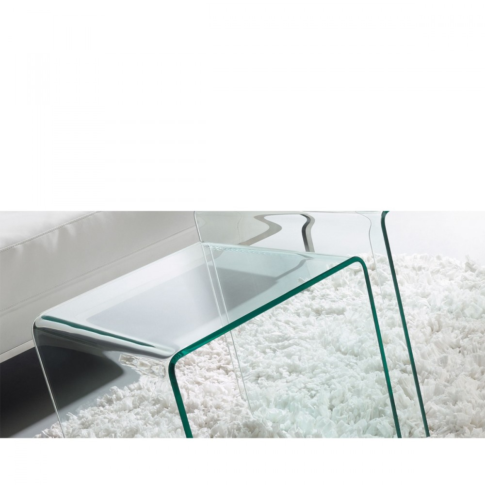 table d 39 appoint en verre transparent burano par. Black Bedroom Furniture Sets. Home Design Ideas