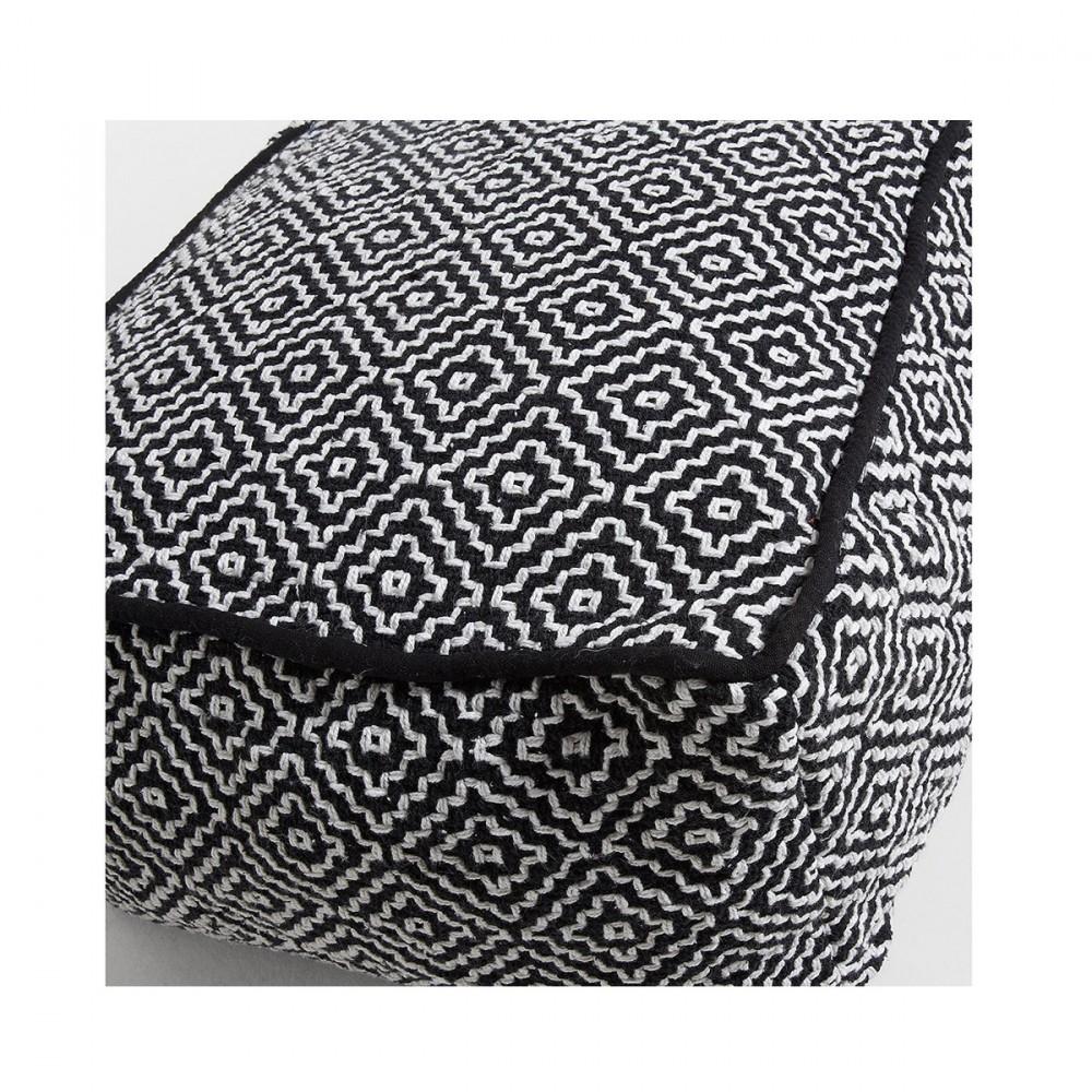 pouf 100 coton d houssable noir et blanc thira par. Black Bedroom Furniture Sets. Home Design Ideas