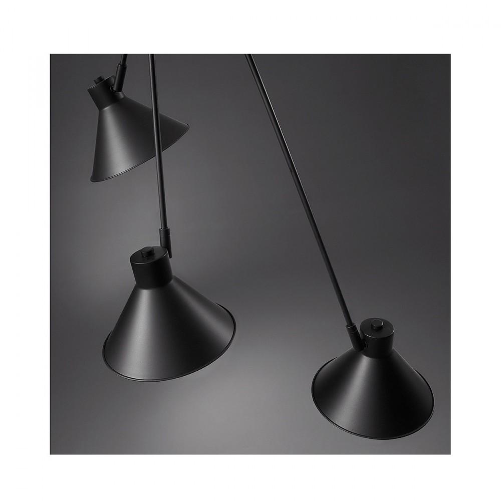 suspension vintage en m tal avec 3 bras noir dione par. Black Bedroom Furniture Sets. Home Design Ideas