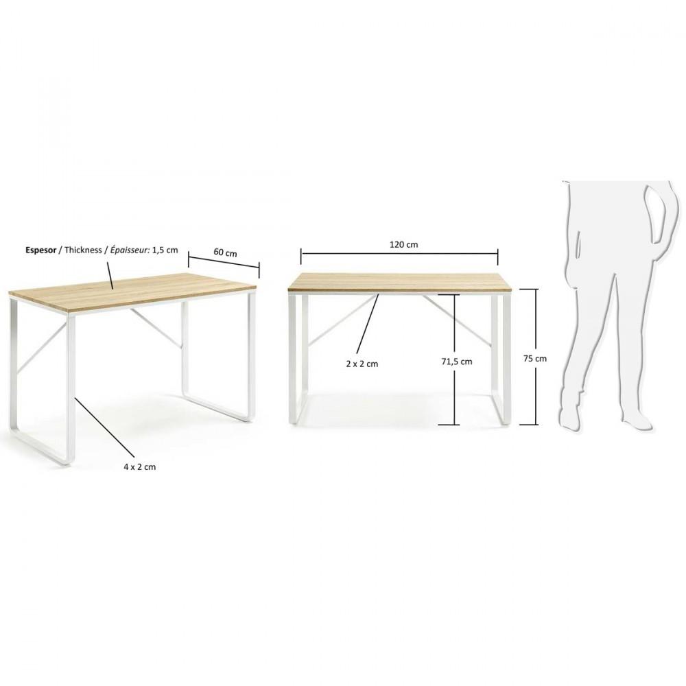 Bureau design structure en métal blanc et plateau en bois Talbot par Drawer fr # Bureau Plateau Bois