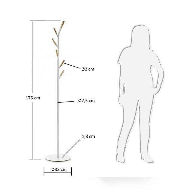 Porte Manteau design métal blanc et bois Nerb 2