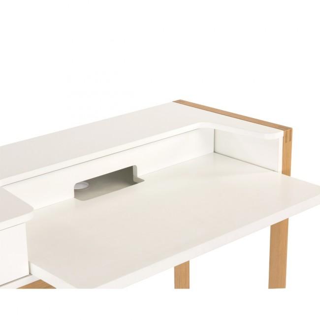 Bureau avec tiroir scandinave blanc et bois Farrington