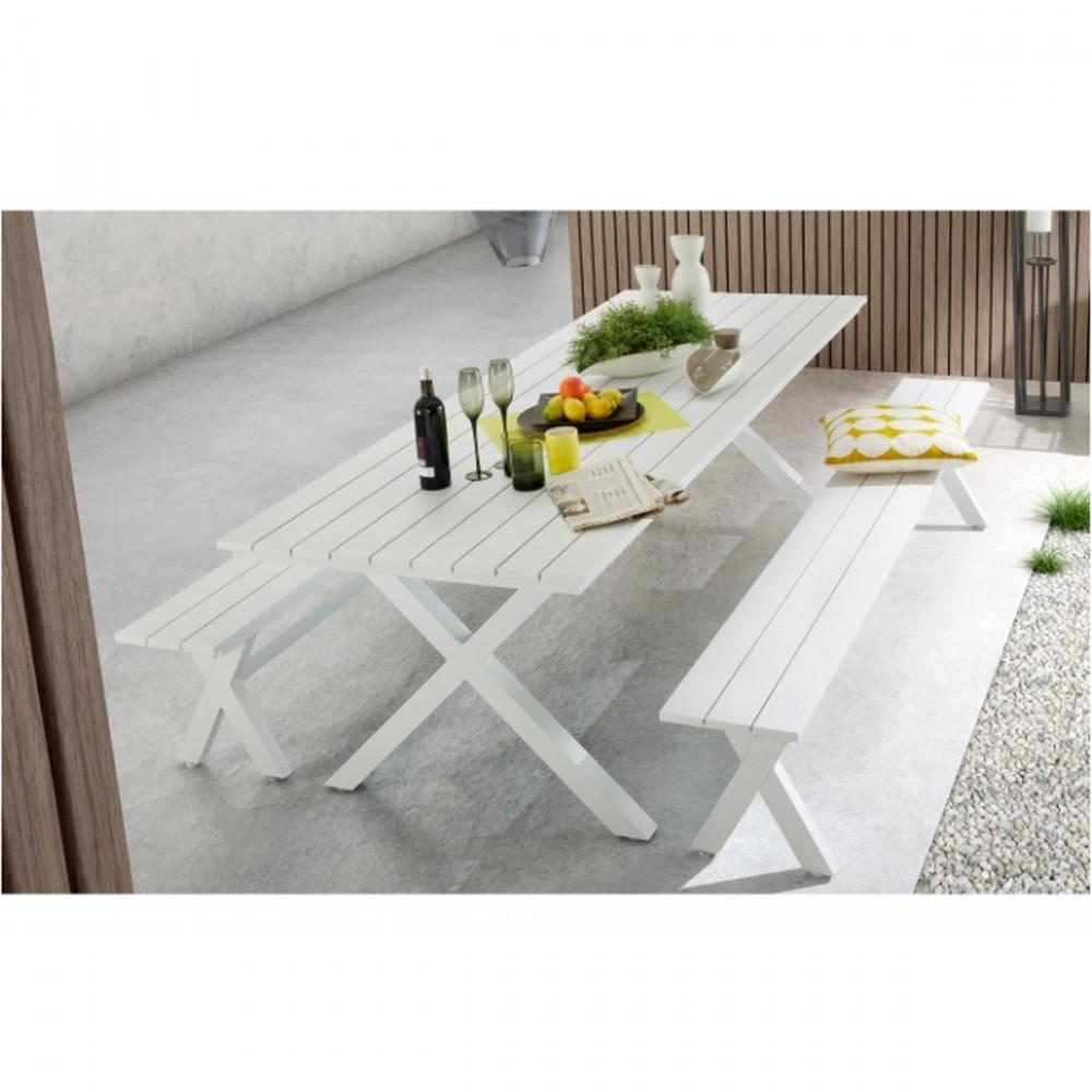 table manger de jardin blanche en aluminium shellyn by. Black Bedroom Furniture Sets. Home Design Ideas