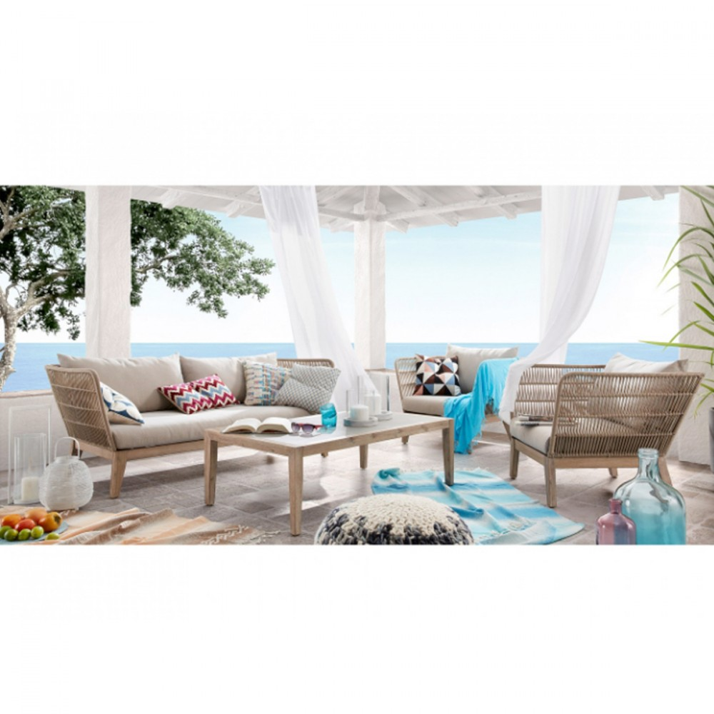 Canapé indoor/outdoor 3 places en bois et corde - BELLENY