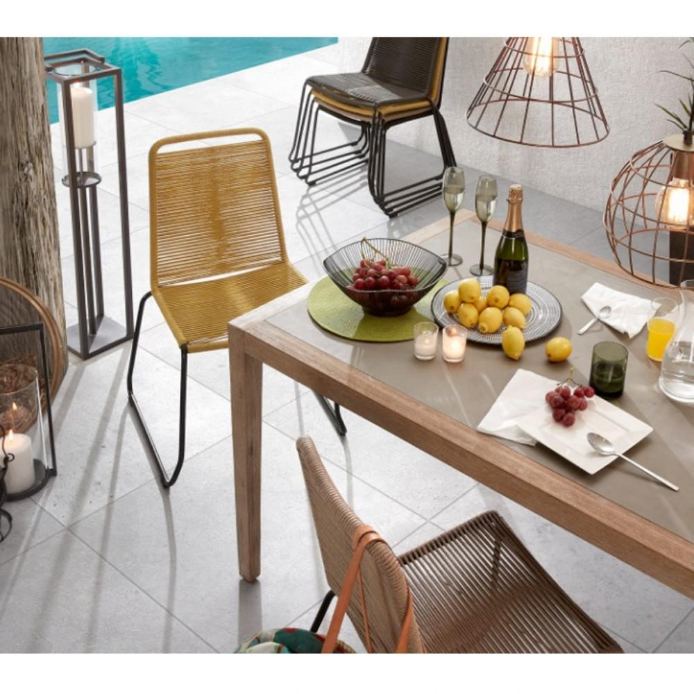 Amirah - 2 chaises de jardin vintage métal et corde