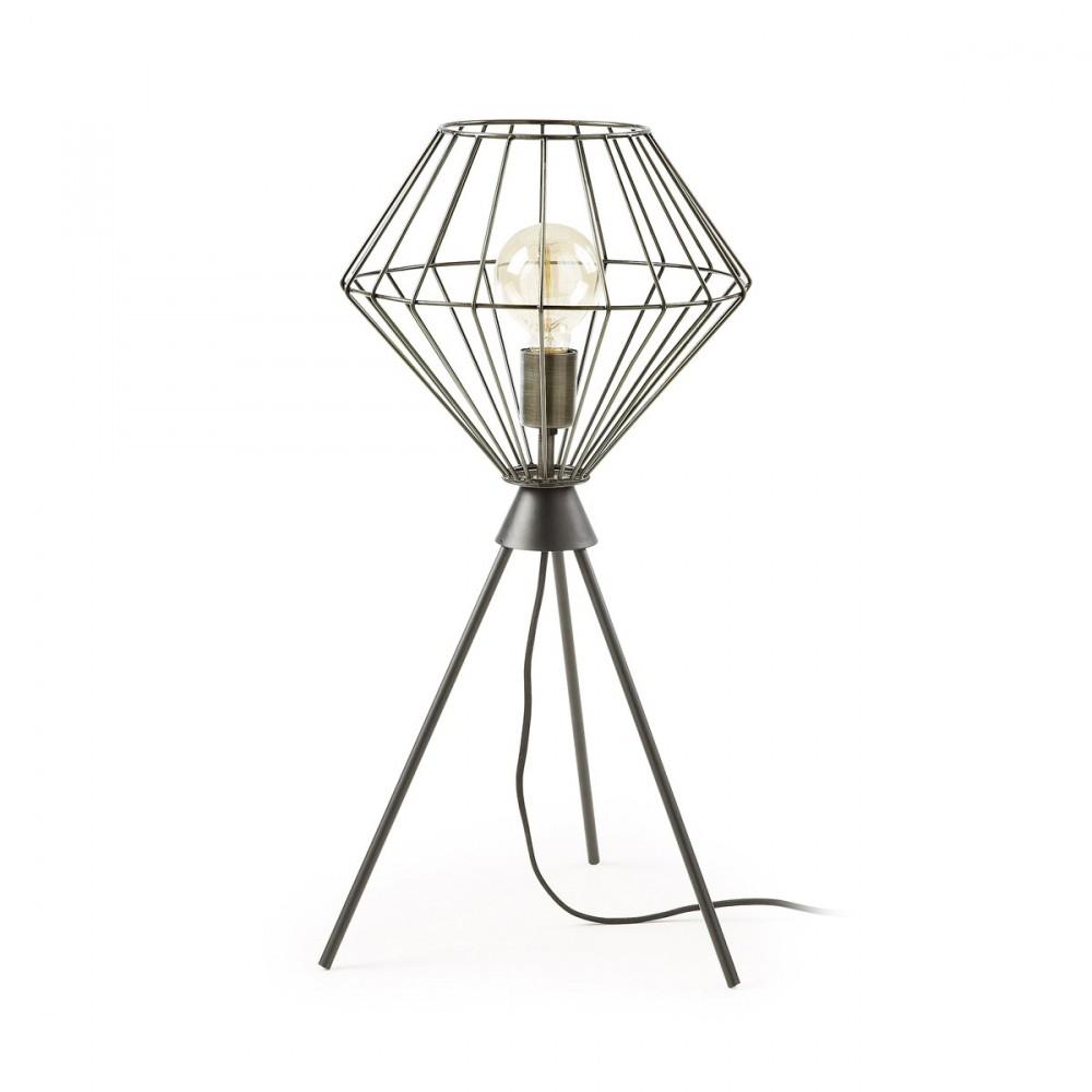 Lampe cage poser en m tal noir cabana par for Lampe a poser style industriel