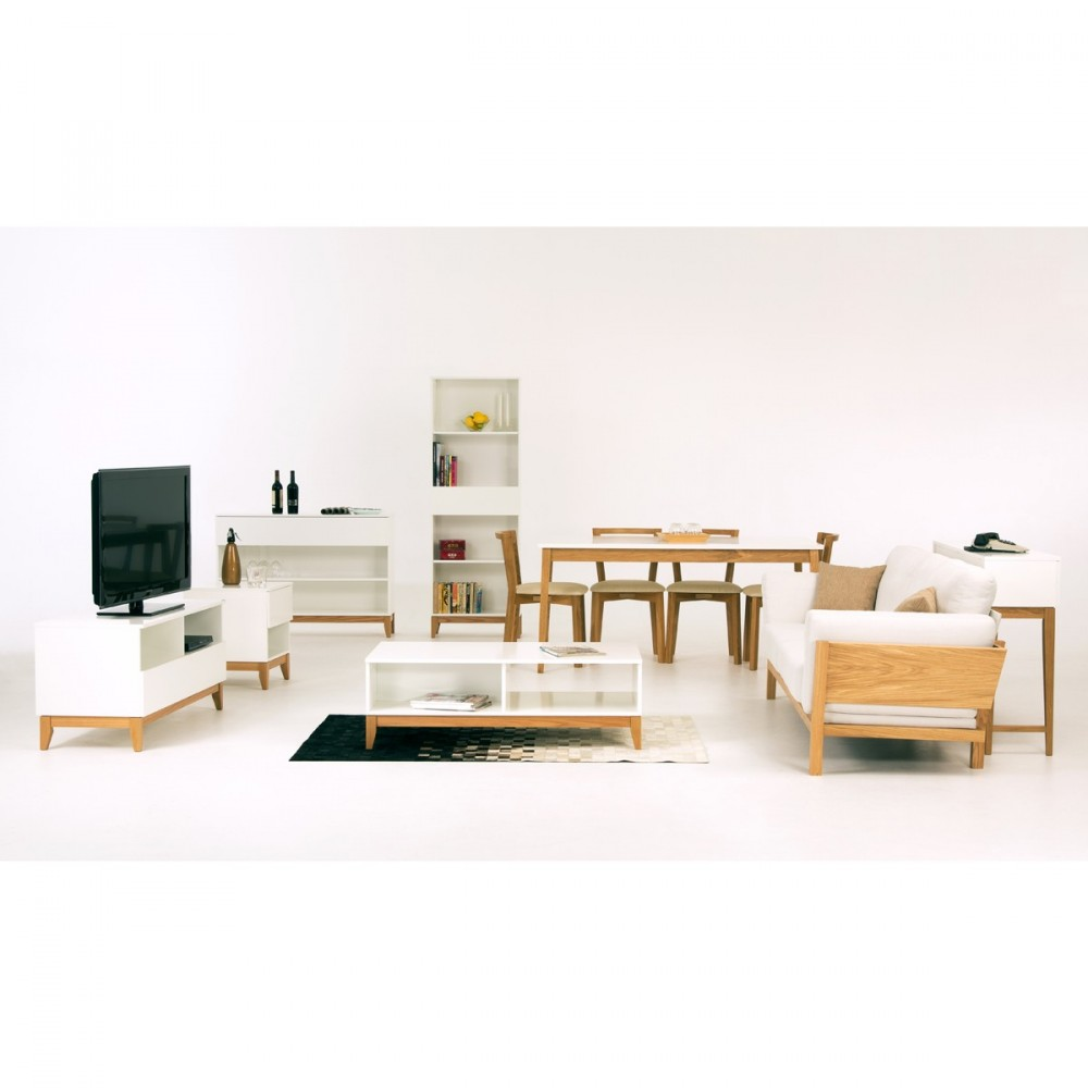 Meuble tv design pratique blanco wide drawer for Meuble scandinave table