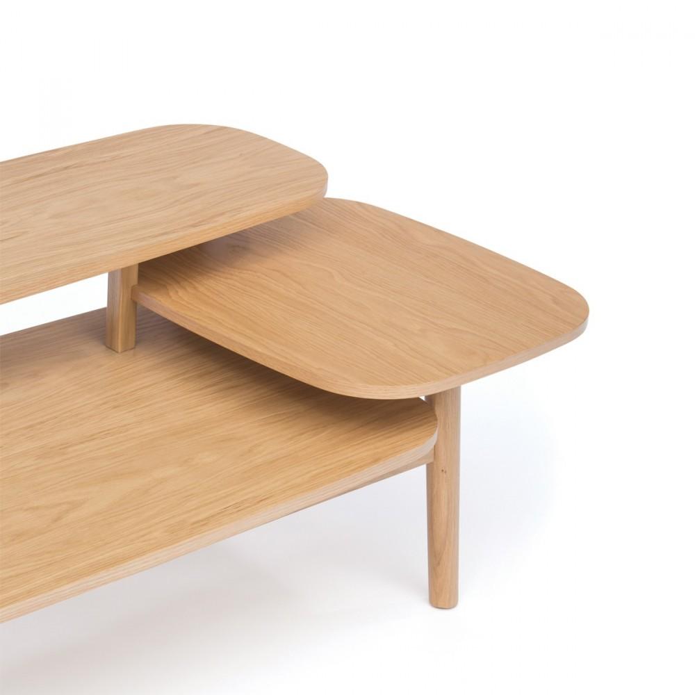 Table basse en bois 3 plateaux eichberg - Table basse 3 plateaux pivotants ...