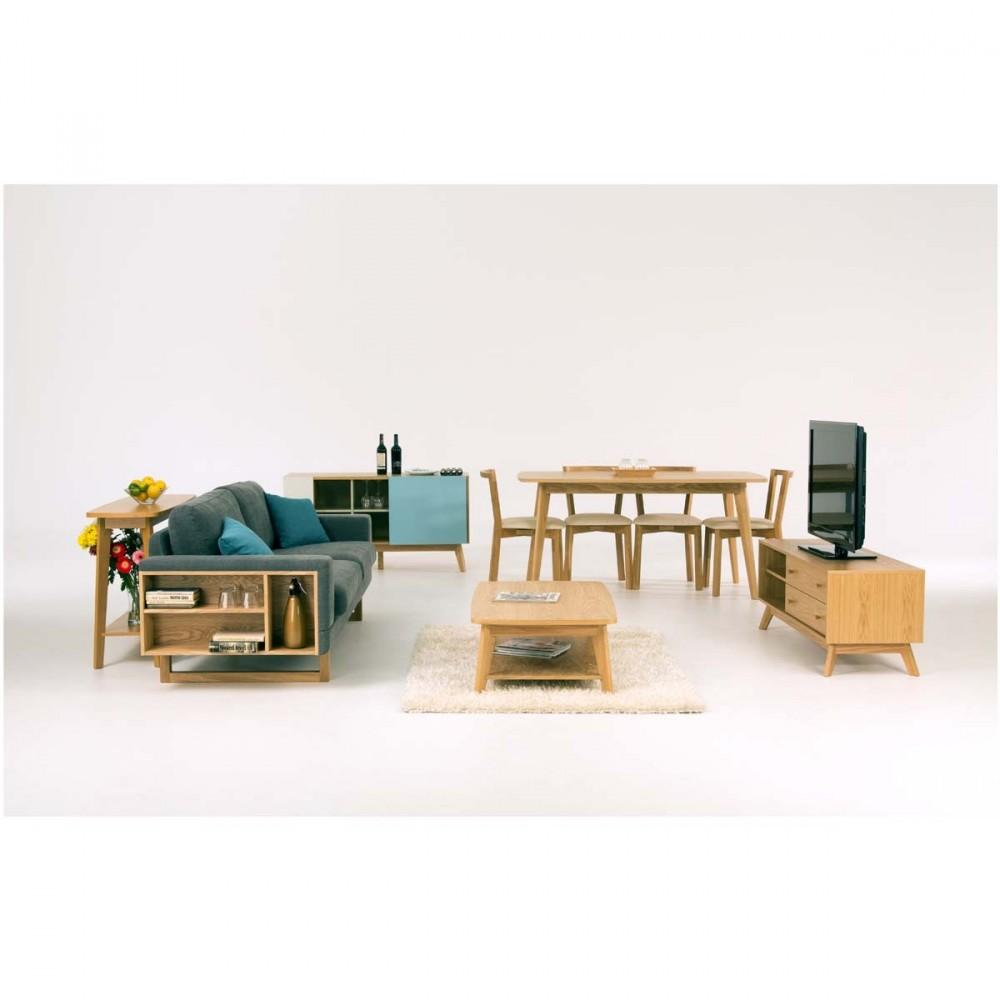 meuble tv design bois massif kensal - drawer.fr - Meuble Tv Design Bois Massif