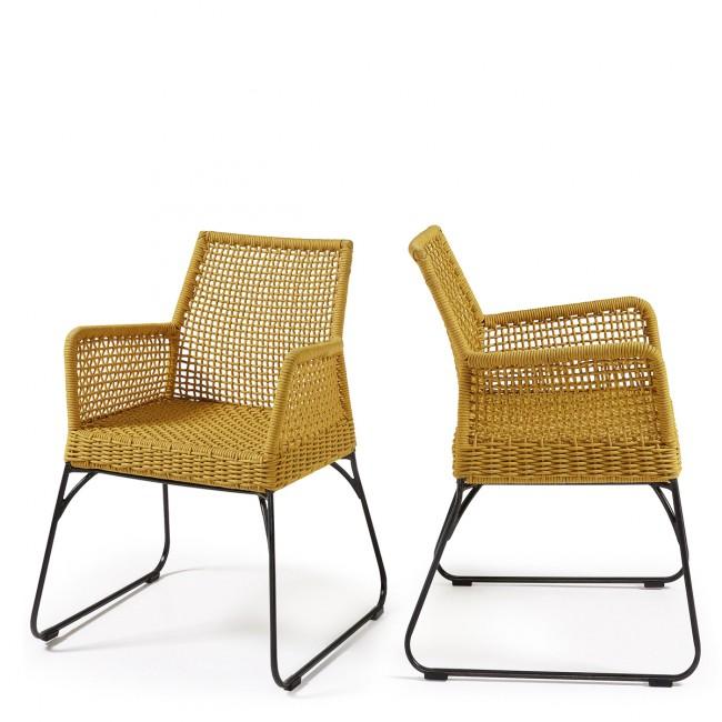 Lot de 2 fauteuils de jardin vintage métal et corde jaune Kavon