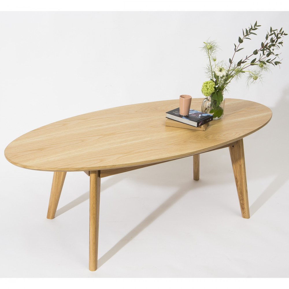 Table basse scandinave ovale skoll by drawer for Table cuisine teck