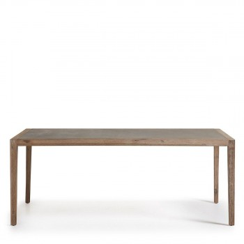 table manger de jardin bois et plateau minral vetter - Table De Jardin Bois