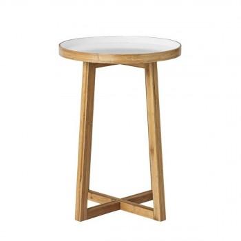 Table d'appoint design bicolore en bambou Aulait