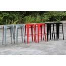 Tabourets de bar Multipl'X (lot de 2) laqués gris noir et rouge