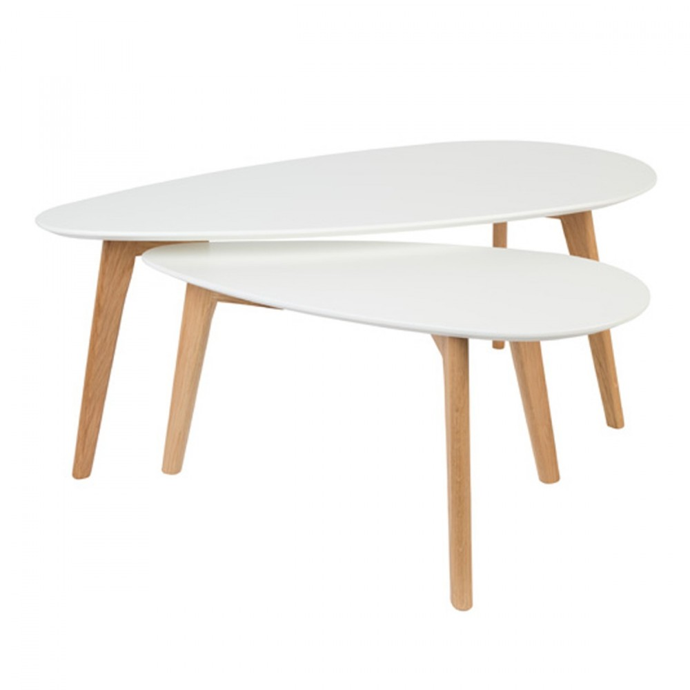 Lot de 2 tables basses laqu es drop for Table basse scandinave lot de 2