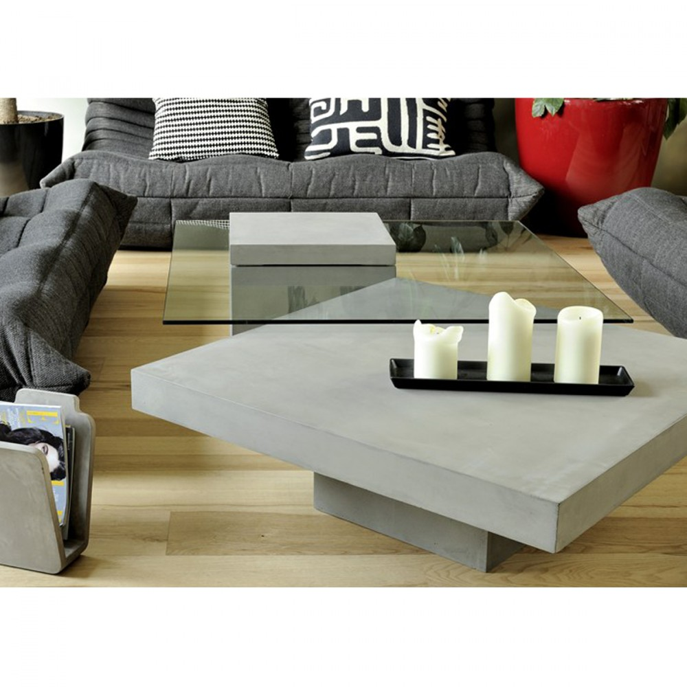 table basse carr e en verre et b ton verveine by drawer. Black Bedroom Furniture Sets. Home Design Ideas