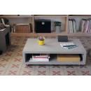Table basse rectangulaire XL sur roulettes Monobloc