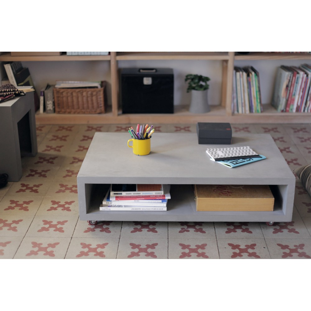 Table basse b ton sur roulettes monobloc xl by drawer - Table basse sur roulette ...