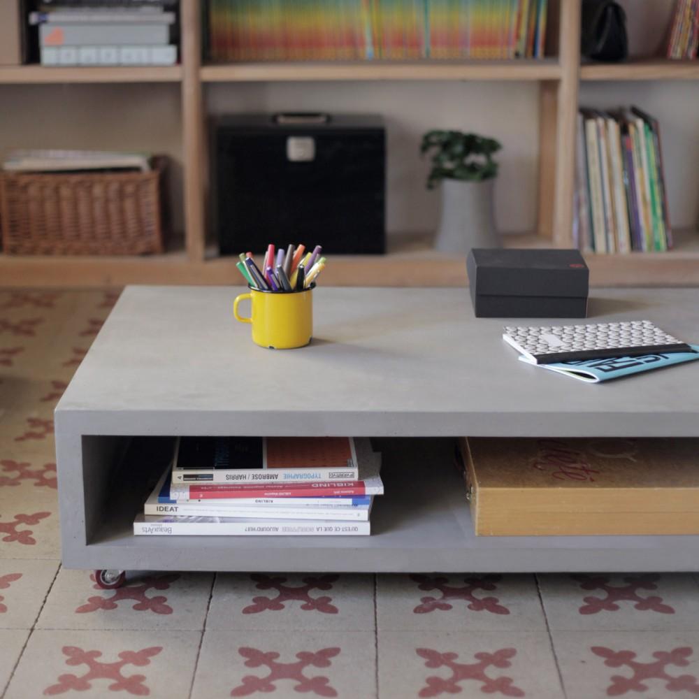Table basse béton sur roulettes Monobloc XL by Drawer
